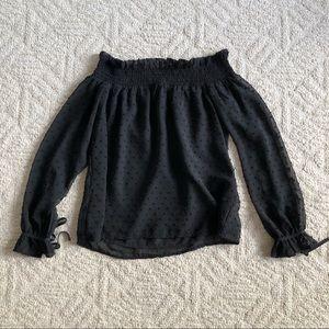 H&M Black Dots on Black Off the Shoulder Blouse